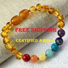 Baby Amber bracelet/ Anklet, chakra healing beads/ rainbow color