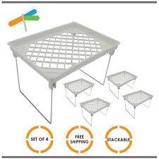 4x Extra Shelf Shelves Storage Stackable Kitchen Organiser Food Small White