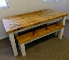 New Handmade solid pine 6 X 3 Rustic Plank Top Table And Bench Sets