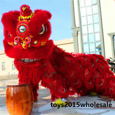 2019 Red Lion Dance Mascot Costume Wool Southern For Two Adults Chinese Folk Art
