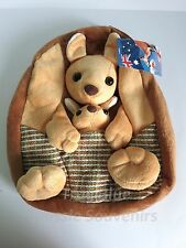 1x Australian Souvenir Plush Backpack - Brown Kangaroo with Baby Joey Design