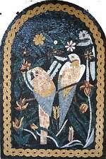 "30""x 20"" Handmade Two Parrots Arbor Tree Garden Nature Decor Art Marble Mosaic"