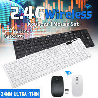 Slim 2.4GHz Wireless Keyboard and Mouse Combo USB PC Laptop Computer