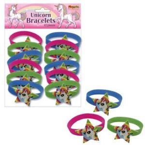 12  Unicorn Bracelets Pinata Toy Loot/Party Bag Fillers Kids Girls