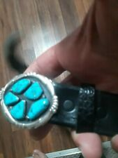 Turquoise signed Horace Iule Zuni. Sterling silver Belt Buckle 5