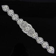 1 Pc Handmade Rhinestone Applique Trim Silver Weeding Bridal Dress Sash Crafts