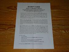 ROBIN GIBB - 50 ST. CATHERINE'S DRIVE / 1 PROMO-FACTS-BLATT (DIN-A-4)