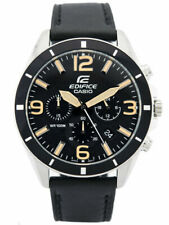Casio Edifice 45mm Silver Stainless Steel Case and Black Leather Strap, Men's Watch (EFR-553L-1BVCF)