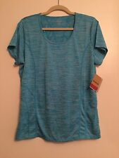 Reebok Sport $40 Neon Blue Heather Top Tee XL Moisture Management Slim