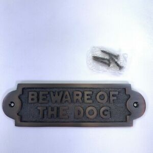 Wall Door Plate Hardware BEWARE OF DOG Bronze Fence Gate Plaque Screw On New