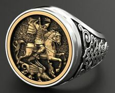 Iconographic St George Signet Dragon Mens Ring In 925 Sterling silver