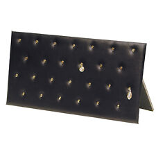 Black Faux Leather Pendant Jewelry Display Holder Easel Pad Stand With 26 Hooks