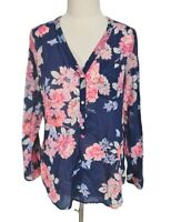 Old Navy Blue Pink Floral Long Sleeve Button Down V-Neck Tunic Top Blouse Size L