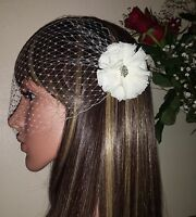 "Brides Ivory birdcage bandeau wedding veil 9"" with diamante fabric flower detail"