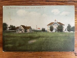 Library and Webster School, Hudson, NH - Early 1900s Vintage Postcard