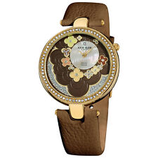 Women's Akribos XXIV AK601BR Diamond MOP Flower Dial Brown Leather Strap Watch