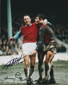 Geoff Hurst & Jimmy Greaves Hand Signed 8x10 Photo Autograph 1966 World Cup