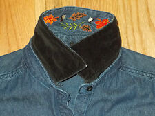 Denim Shirt Reversible Collar Embroidered 12-14 Womens M Top Style Studio WS232