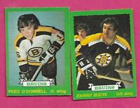 1973-74 OPC BRUINS JOHNNY BUCYK + FRED ODONNELL RC   CARD (INV# C1378)