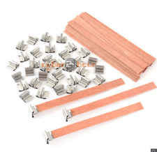40/100pcs Wooden Wick Candle Core Sustainers Tab Diy Candle Making