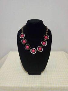 J.Crew Women's Statement Necklace Pink Circles Rhinestones Brass Tone 20 Inches