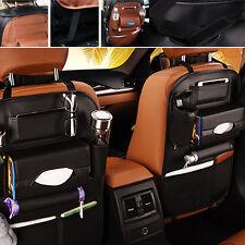 Car Seat Back Organiser Storage Bag iPad Phone Holder Mini-Pockets Leather Black
