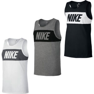 Nike Mens Vest Tank Retro Big Logo Sports Gym Sleeveless Tank Top Size S M L XL