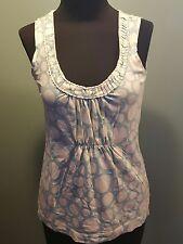 Boden Light Teal Cream Circle Print Cotton Modal Sleeveless Knit Tank Top XS Euc