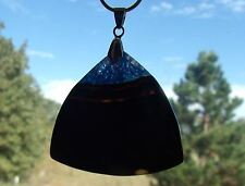 "Beautiful Black & Blue Triangle Agate on 30"" 18K White Gold Filled Snake Chain"