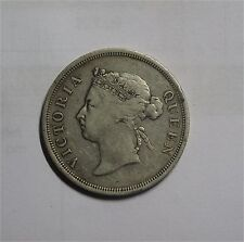 1886 Straits Settlements Victoria 50 Cents Silver  Coin Rare VF