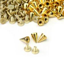 100x 10mm Gold Metal Bullet Studs Cone Punk Spikes Spots Rivet Leathercraft DIY