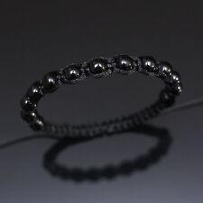 8mm All Black Beaded Shamballa Adjustable Bracelet Boho Men Women Unisex