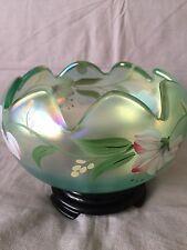 Fenton Art Glass Petal  Rose Bowl With Base