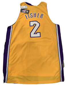 New 2011 Derek Fisher Los Angeles Lakers XL Yellow Swingman Stitched Jersey NWT