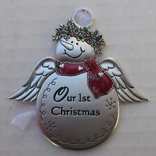 k Our first 1st Christmas Newlywed SNOWMAN ANGEL Christmas ORNAMENT Ganz snow