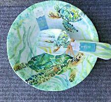 Sigrid Olsen Turtle Tropical  Ocean Green Melamine Salad Bowl With Servers 3-Pc