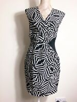 Whistles Dress Sz 12 Zebra Black White 100% Silk Pencil Wiggle Cocktail