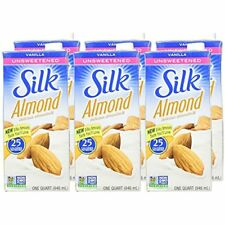Silk Unsweetened Almond Milk Vanilla No Cholesterol 32 Fluid Ounce (Pack Of 6)
