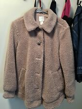 H&M Faux Fur Nude Pink Fluffy Teddy Coat Jacket Size 4