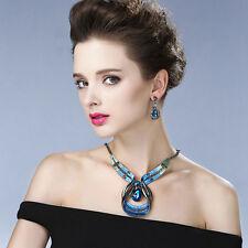 Ladies Choker Chunky Statement Chain Pendant Bib Necklace Earrings Jewelry Set