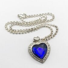 Blue Crystal Necklace Pendant Titanic Heart Of The Ocean Sapphire Glass necklace