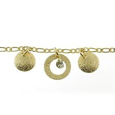 Cirlces and Cz Anklet 18k Gold Filled Textured