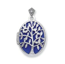 9ct White gold Oval shaped Tree of life locket