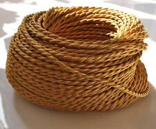 GOLD ANTIQUE BRAIDED/WOVEN SILK/FABRIC LAMP CABLE/WIRE/CORD LIGHT/ELECTRIC FLEX