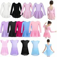 Kids Toddler Girls Gymnastics Leotard Dress Ballet Dance Tutu Skirt Dance Wear