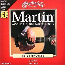 3 Conjuntos Martin Guitarra Acústica Cuerdas Light 12-54 3 X conjuntos (look)