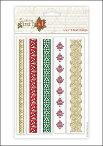 Papermania First Noel Christmas Borders Clear Stamps,5 per Pack BNIP