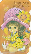 Vintage 1970's Happy Birthday Daughter Die Cut Greeting Card ~ Make up Doll