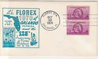 U. S. 1970 Florex Orlando 125th Anniv. Florida S/Hood illust Stamps Cover  37573