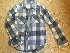 NWOT Abercrombie & Fitch Blue & Ivory Buffalo Check Flannel Shirt Size Small
